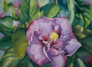 Colleen Sanchez original watercolor painting Mauve Dream