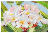 'Pink Plumeria, Blue Sky 2' watercolor by Fabienne Blanc, Giclée Print, custom sizes