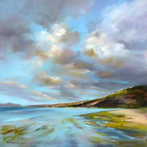 Susie Anderson original oil painting Clearing Skies 42 x 42