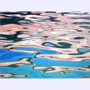 Fabienne Blanc Original Watercolor Pink and Grey Boat 22 x 30