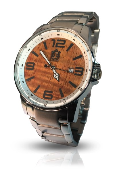 Ambassador Koa wood and stainless steel watch