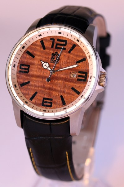 Boardroom Koa wood watch with leather band by Pono Woodworks