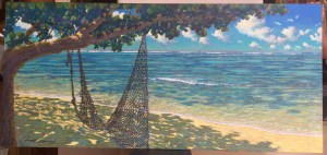 Russell Lowrey The Old Net original painting 36 x 78
