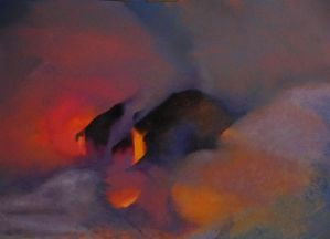 Diana Lehr original oil Lava and Steam 22 x 30
