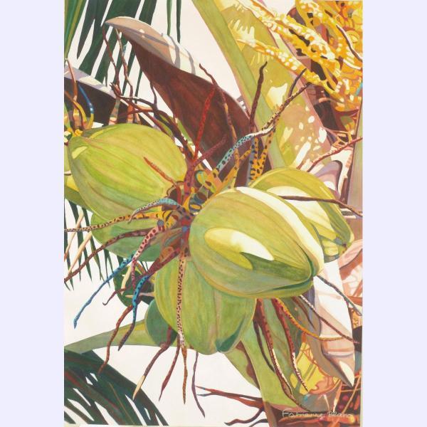 Fabienne Blanc original watercolor Coconuts at Dusk