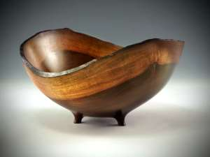 "Sharon Doughtie Milo natural-edged bowl w/ feet 9.5"" x 8.5"" x 4.75"""