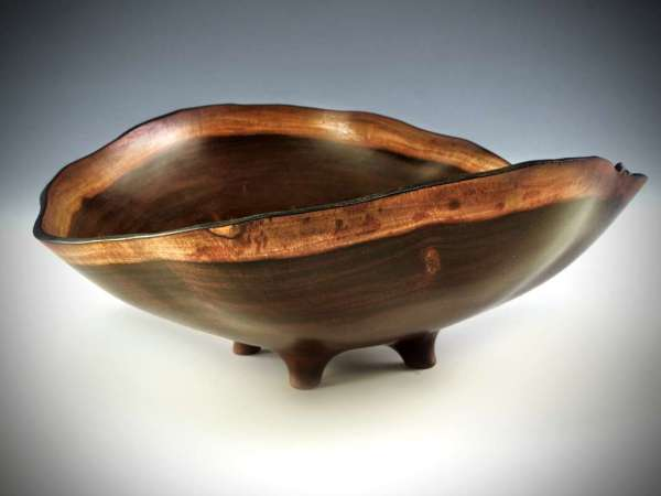 "Sharon Doughtie Milo Natural-edged Bowl w/ feet and carved waves 11"" x 9.5"" x 4"""