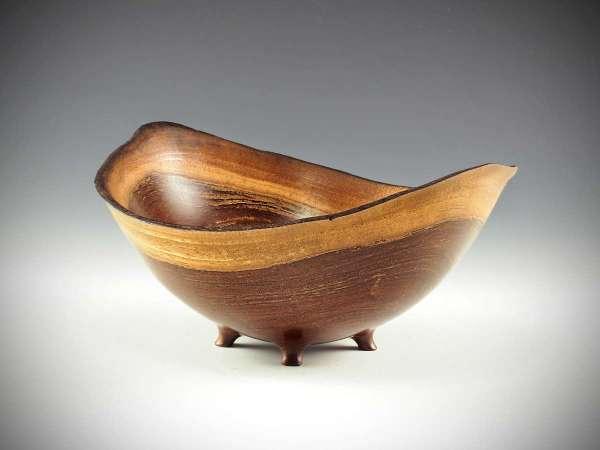 "Pat Kramer Kolohala natural edge footed bowl 5"" x 11"""