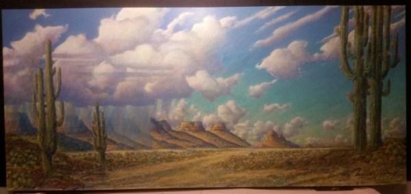 Southwest Rain Squall 36x78 acrylic and mixed media on canvas 7500