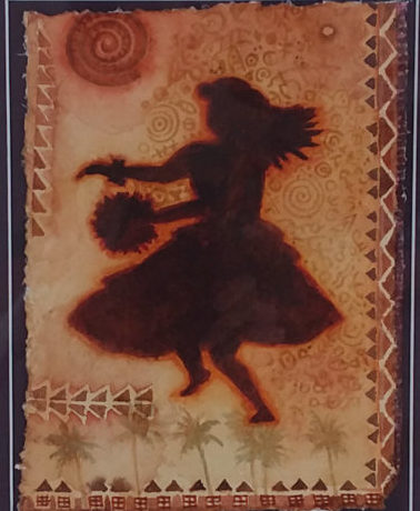 "Wa'a Kahiko Wahine original watercolor by Cindy Conklin 17.5"" x 14.5"""