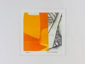 "Topaz monoprint by Linda Spadaro 16"" x 16"""