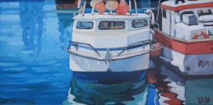 Brenda Cablayan original painting Fishing Buddies 6 x 12