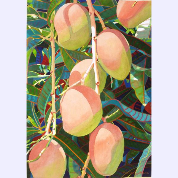Before Eating a Mango original watercolor by Fabienne Blanc