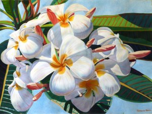 Plumeria Bloom original watercolor by Fabienne Blanc