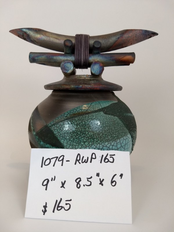 Jeff Chang raku fired lidded pot