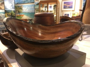 Kamani bowl with natural edge rim made by Carl Sherry 11 x 10 x 4.5