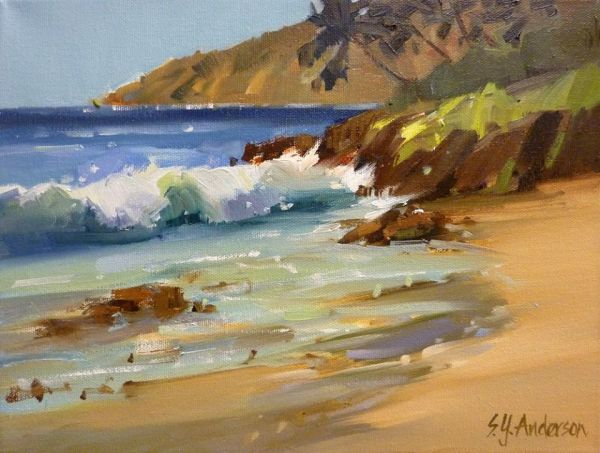 Onshore Rollers original oil painting by Susie Anderson 9 x 12