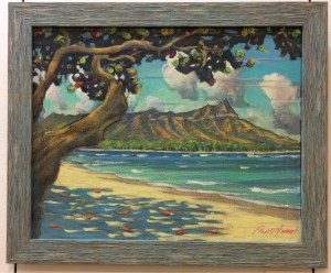 Diamond Head at Kapiolani Park by Russell Lowrey original painting 16x20 framed