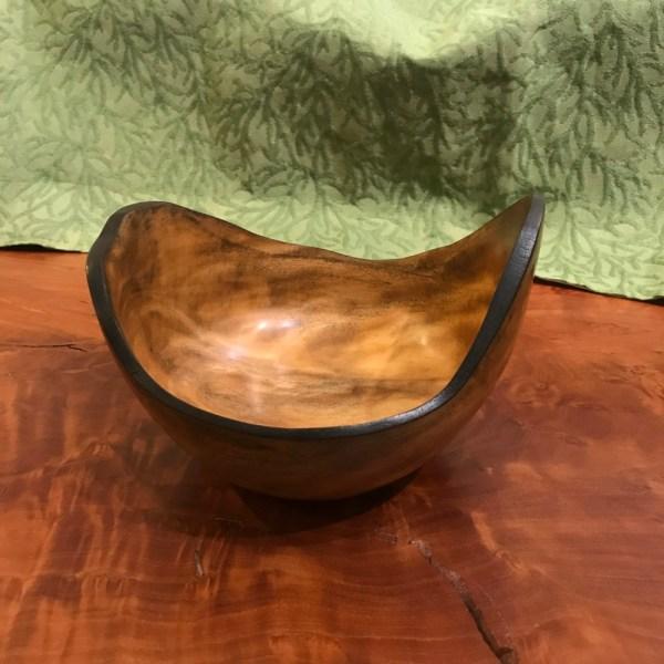 Carl Sherry Autograph Tree Bowl with Burnt Rim 4.25x7.25x6.5