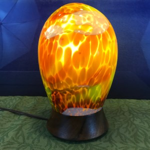 "Bud Spindt Blown Glass Lamp Ohai Turned Base 'Aurora Tropicalus #4' 10""Hx6""D"