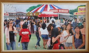"Burton Uhr 'Carnival' Oil Painting 24""x40"""