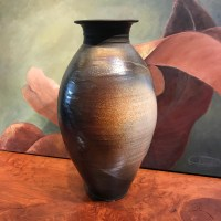 "Jeff Chang Raku Vase 20""Hx11""D"