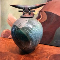 "Jeff Chang Raku Warrior Pot 17""Hx12.5""Wx12""D"