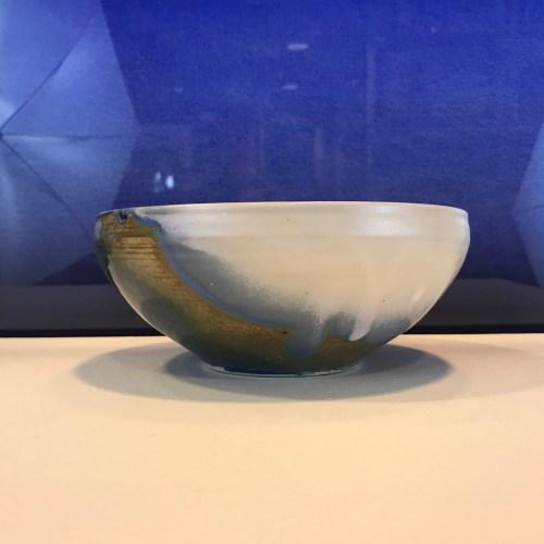 """Jeff Chang Teal Stoneware Bowl 3""""Hx7""""D (representative)"""