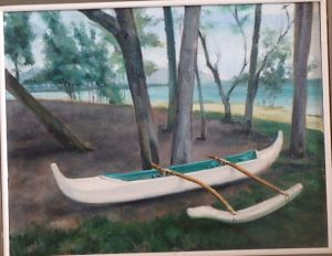 Burton Uhr 'Lone Canoe in Kailua Park'