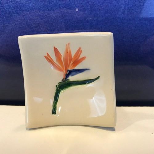 """Lorna Newlin Ceramic Bird of Paradise Dish 2.5""""x2.5"""" (representative)"""