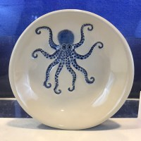 "Lorna Newlin Ceramic Blue Octopus Bowl 5"" Diameter"