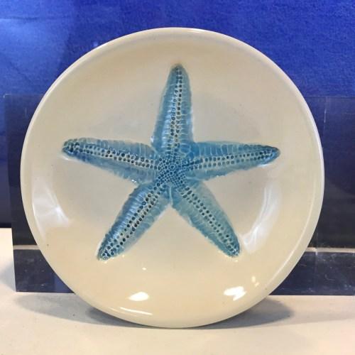 """Lorna Newlin Ceramic Blue Starfish Bowl 5"""" Diameter"""