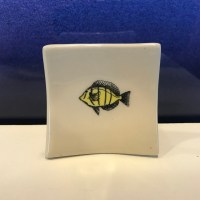 "Lorna Newlin Ceramic Convict Tang Fish Dish 2.5""x2.5"" (representative)"