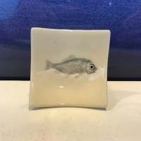 "Lorna Newlin Ceramic Gray Fish Dish 2.5""x2.5"" (representative)"