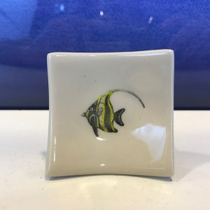 "Lorna Newlin Ceramic Moorish Princess Fish Dish 2.5""x2.5"""