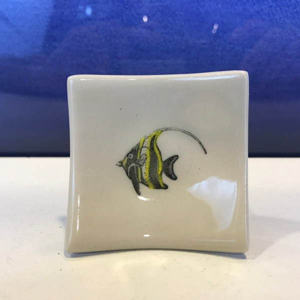 "Lorna Newlin Ceramic Moorish Princess Fish Dish 2.5""x2.5"""