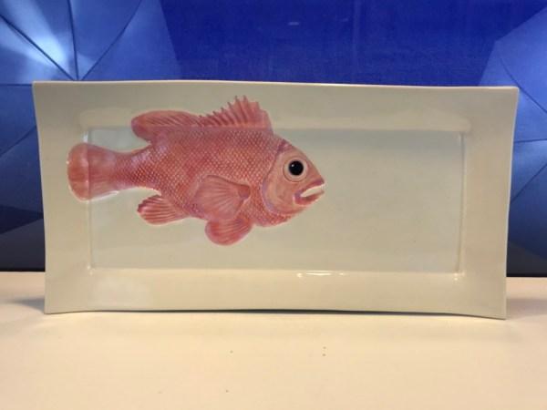 """Lorna Newlin Ceramic Red Fish Platter 7""""x14"""""""