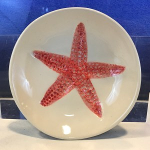"Lorna Newlin Ceramic Red Starfish Bowl 5"" Diameter"