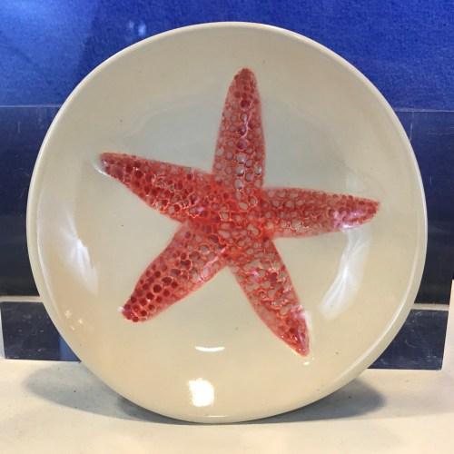 """Lorna Newlin Ceramic Red Starfish Bowl 5"""" Diameter"""