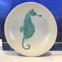 "Lorna Newlin Ceramic Turquoise Seahorse Bowl 5"" Diameter"