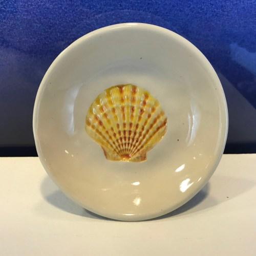 """Lorna Newlin Yellow Shell Dish 4"""" Diameter (representative)"""