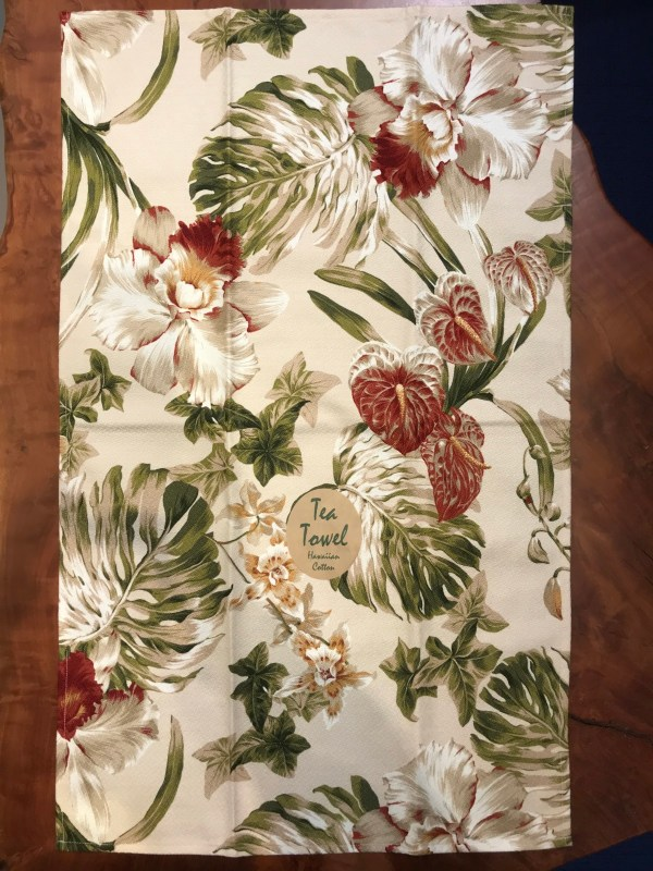 "Maui Potpourri Retro Bark Cloth Tea Towel 28""x17"" (representative) #A"