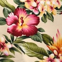 'Olelo Cream' Maui Potpourri Retro Bark Cloth (representative)