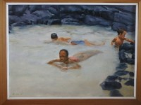 "Burton Uhr 'Three kids in Tide pool' Oil Painting 16""x 12"""