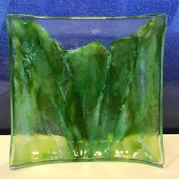 "Vicki Villaluz Fused Glass Koolau Dish 4""x4"" (representative)"