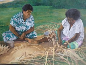 "Burton Uhr 'Women making Matte' Oil Painting 36""x 48"""