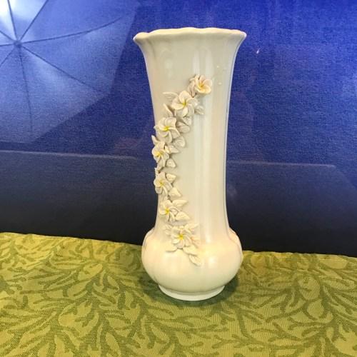 """Porcelain Hawaii Plumeria Vase 8.5""""Hx3""""W (representative)"""