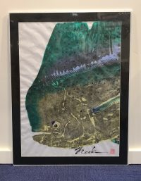 "'Big Bullie Mahi' Gyotaku on Washi by Naoki Hayashi 26""H x 20""W matted"