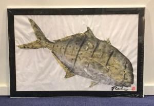 """'Golden Jack' Matted Gyotaku on Washi by Naoki Hayashi 21""""H x 32""""W $450"""
