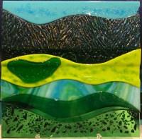 """'Ho'omaluhia View' Fused Glass by Liz Train 12""""x 12"""" $400"""